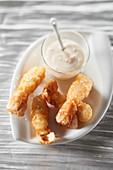 King scampi in tempura, creamy fish roe sauce