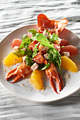 Lobster salad with citrus fruits and foie gras with pommeau