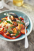 Mussel Salad with Tomato, Peppers, Fennel and Piment Breton