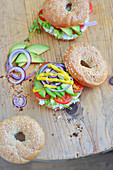 Avocado,cream cheese and vegetable bagels