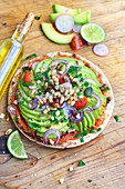 Vegetarian avocado pizza