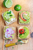 Assortment of avocado toasts