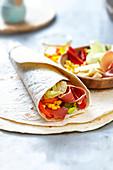 Raw ham and sweetcorn Tortilla