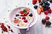 Summer fruit, grape and fig fruit bowl