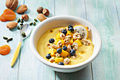 Mango and blue berry fruit bowl