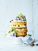 Mascarpone, blueberry naked cake decorated with flowers