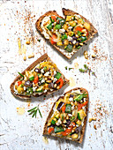Fromage frais, pepper,courgette, aubergine, onion, pine nuts and feta crumb toasts