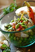 Broad bean, pea and artichoke salad