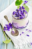 Homemade violet yoghurt
