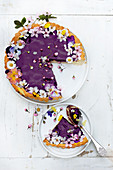 Blackcurrant Pie with cut flowers