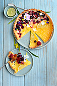 Lemon and berry pie cut