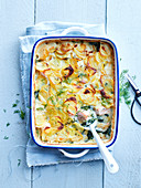 Potato, salmon, spinach and dill gratin