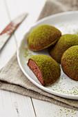 Chocolate and green tea truffles