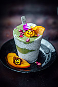 Tapioca, avocado and mango smoothie with flowers