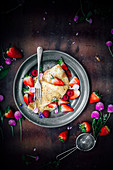 Crepes with ricotta cheese and berries
