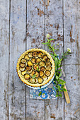 Griiled courgette quiche