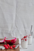 Coconut milk pearl tapioca pudding with pitahaya and raspberries