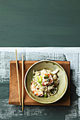 Gambas and celery stalk risotto