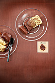 Chocolate ganache,candied chestnut and gold powder small terrines
