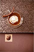 Chocolate pudding with cream