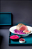 Roast beef with three different red cabbage dishes