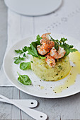 Mashed potato and herb timbale with crayfish