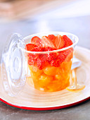 Melon and strawberry take-away fruit salad