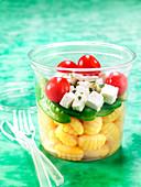 Gnocchis, pea, cherry tomato and feta salad to take-away