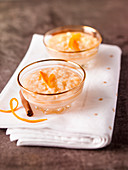 Orange zest and cinnamon-flavored rice puddings