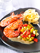 Gambas flambeed with Pastis,Diced vegetables and tagliatelles