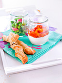 Glass Of Cream Cheese And Red Peppers,Glass Of Peas,Broad Beans,Radishes And Chives,Poppyseed And Algarve Fleur De Sel Puff Pastry Twists