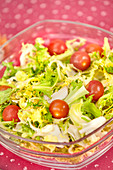 Curly endive and cherry tomato salad bowl