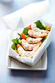 Shrimp,spring vegetable and coconut milk papillote