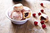 Raspberry jam mini donuts