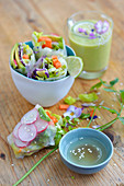 Avocado,carrot,red onion and radish spring rolls ,avocado smoothie