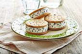 Stracciatellaice cream biscuit sandwiches