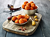 Green olive and hot pepper croquettes