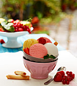 Bowl of different flavored scoops of ice cream and fresh fruit