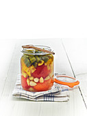 Jar Of Tomatoes,Garlic,Peppers And Small Peppers For Lacto-Fermentation