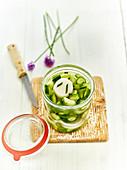 Eingelegte Minigurken, Daikon-Rettich und Schnittlauch im Weckglas (Lakto-Fermentation)