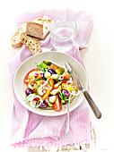 Tomato,Mini Cucumber,Olive,Garlic,Chive And Thyme Salad