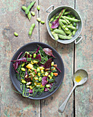 Edadame bean,seaweed,courgette and almond salad