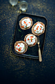 Blinis with cream and salmon roe
