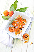 Roasted apricots with thyme,grilled almonds and lemon