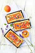 Apricot,grilled almond and lavender pies