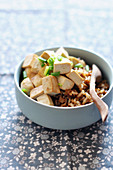 Brown rice sauteed with tofu and chives
