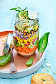 Mixed avocado salad in a jar