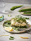 Coconut-ginger turbot fillets,steamed green beans