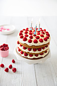 Coconut-raspberry layer cake with birthday candles