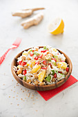 Rice,Pomegranate,Avocado,Pineapple,Walnut,Macadamia And Sesame Seed Salad